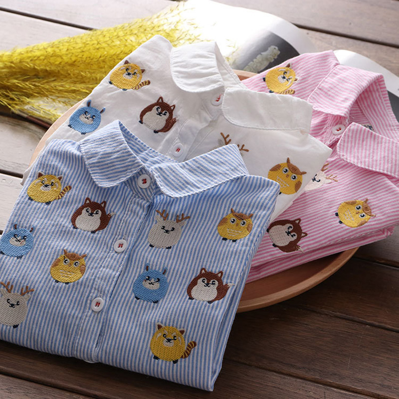 Children's Personality Stripe Top Kids Wear 2019 Spring And Autumn New Baby Cute Cartoon Pattern Lapel Shirt