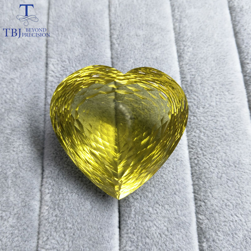 Tbj ,Natural Lemon quartz 196.85ct big heart shape in bird nest cutting,bralliant cutting loose gemstone for gold jewelry