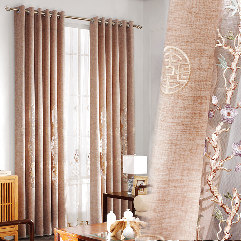 Chinese Cotton Linen Material Embroidered Curtain Tulle Living Room Bedroom Balcony Flower Decoration Curtain Custom Size