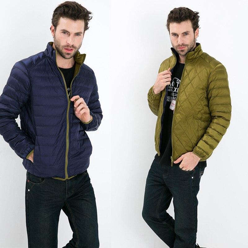 Fall Winter man Duck   Down   Two Side Wear Jacket Ultra Light Thin Plus Size Winter Jackets Men Fashion Spring Outerwear   Coat