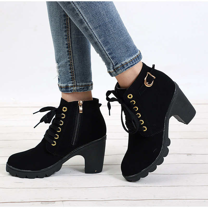 Women Ankle Boots Autumn Winter Buckle Zip Lace Up Short Boots Ladies Fashion Platform Shoes Female Chunky High Heels high quality womens fashion high heel lace up ankle boots ladies buckle platform shoes