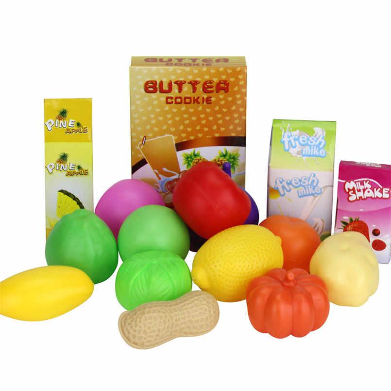 16 Uds. Carrito de compras carrito de supermercado carrito de empuje coche cesta para juguetes Mini simulación de fruta de alimentos de simulación de juguete para niños