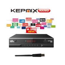 Kepnix nano 7pcs receptor de satélite m3u hevc suporta powervu autoroll 3g modem 2xusb porto 1ptv h.265 hd