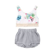 0-24M Sweet Toddler Infant Baby Girl Floral Sleeveless Vest Tops Shorts Summer Outfits Set