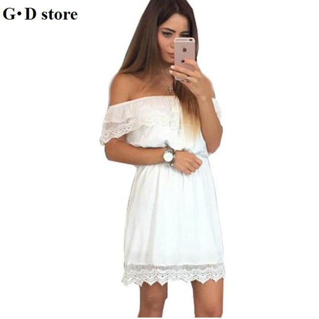 bcd715af NEW Fashion women Elegant Vintage sweet lace white Dress stylish sexy slash  neck casual slim beach Summer Sundress vestidos