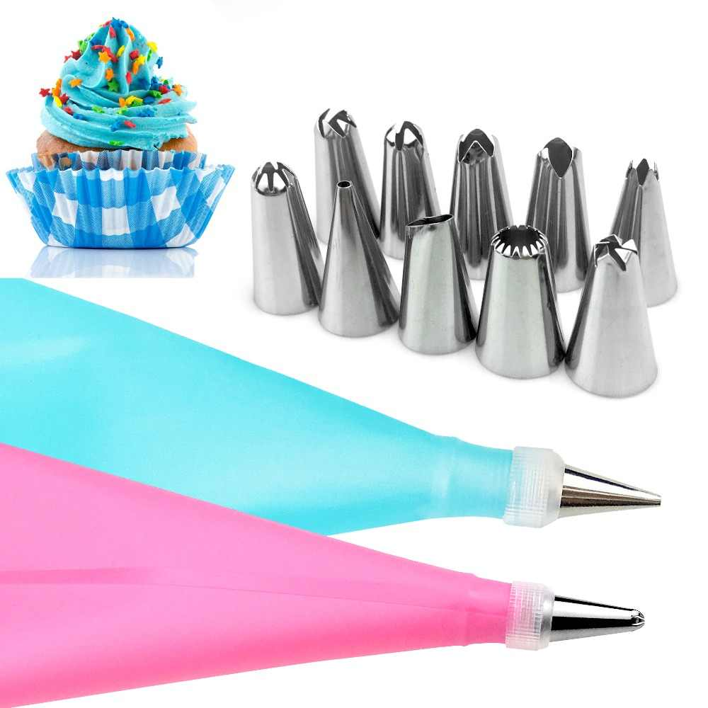 VOGVIGO 12PC/Set Kitchen Baking Cake Decorating Tool Silicone Icing Piping Pastry Bag Stainless Steel Nozzle Converter Only Blue