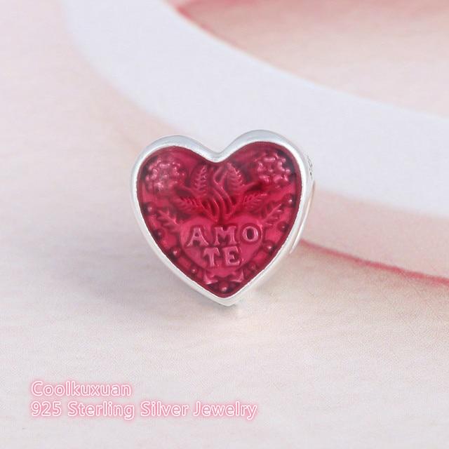 ca6695676 2019 Latin Love Heart Charm Beads Fits Pandora bracelets Solid 925 Sterling  Silver Cerise Enamel Amo te Arrows Hearts Charms