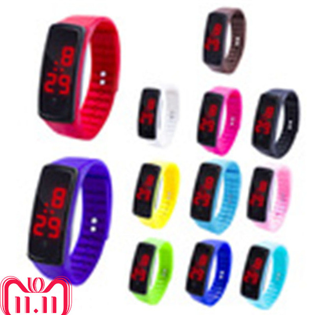 12 Colors New Fashion LED Sports Running Watch Date Rubber Bracelet Digital Wris