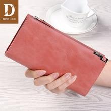 Купить с кэшбэком DIDE 2019 Wallet Female For Coins Cute Long Women Wallets Genuine Leather Fashion Girls Purse Card Holder Long Clutch Hand Bag