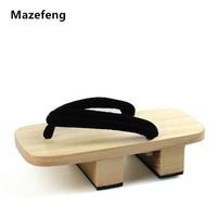 Mazefeng الصلبة كعب المتأرجح الرجال الرجال قباقيب خشبية النعال منصة الصنادل جيتا الياباني تأثيري أحذية الرجال جيتا السدادات