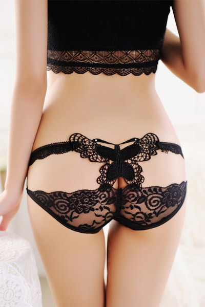 Online Buy Wholesale black butterfly accent sheer lace panty from ...