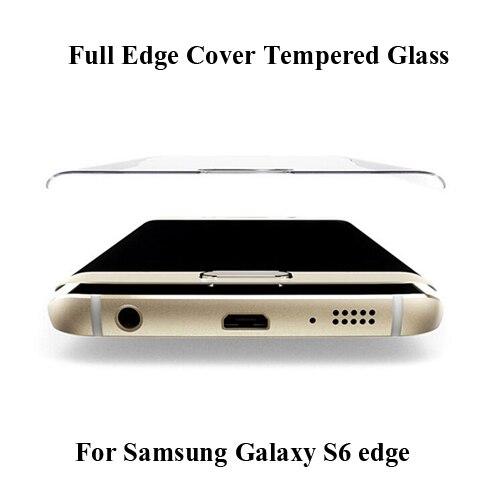 50 unids/lote para samsung s6 edge cubierta completa anti-choque protector de pantalla de cristal templado para galaxy s6 protector de pantalla de cristal curvado