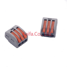 ФОТО (10 pieces/lot) wago 222-413 universal compact wire wiring connector 3 pin conductor terminal block with lever awg 28-12