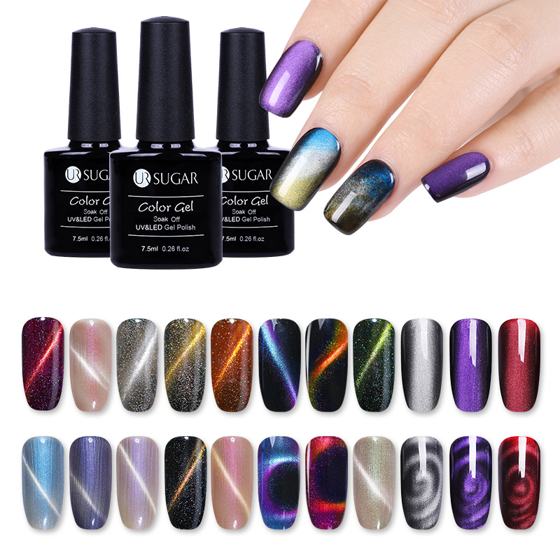 UR SUGAR 7.5ml Magnetic Cat Eye Nail Gel Soak Off UV Magic Box Magnetic Gel Luxuriant Jade Effect Varnish Gel Nail Art Lacquer