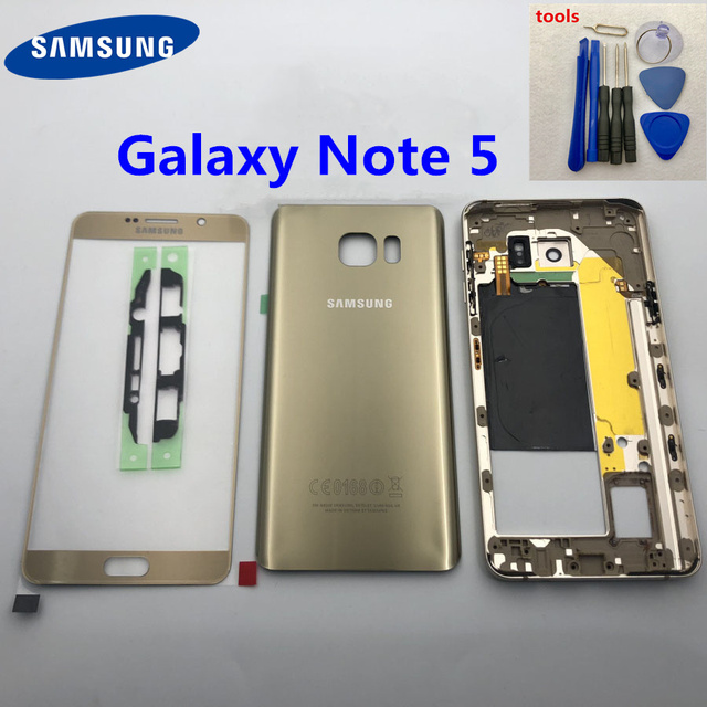 For Samsung Galaxy Note 5 N920 N920F SM N920F Middle Frame note5 N9200 Back Cover Full Housing Case Front Screen Glass Lens+tool