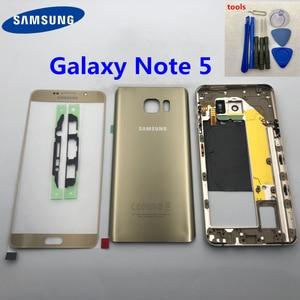 Image 1 - Pour Samsung Galaxy Note 5 N920 N920F SM N920F cadre moyen note5 N9200 couverture arrière boîtier complet écran avant lentille en verre + outil