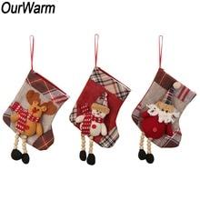 OurWarm 3Pcs Christmas Chimney Stocking Bags Snowman Santa Claus Elk Socks Xmas Tree Candy Gift Ornaments New Year 2019