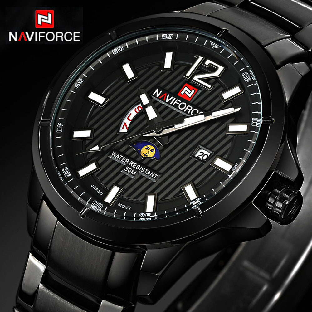 Top Brand NAVIFORCE New Stey Men Wristwatches Full Steel Wrist Watch Clock Mens Quartz Luxury Sport Watch With Calendar Reloj mens watch top luxury brand fashion hollow clock male casual sport wristwatch men pirate skull style quartz watch reloj homber