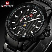 Top Brand NAVIFORCE Nueva Stey Hombres Relojes de Pulsera de Acero Completo Reloj de pulsera de Reloj Para Hombre de Cuarzo Reloj Deportivo de Lujo Con Calendario Reloj