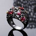 Фуксия Розовый Красный Teardrop Crystal ювелирные изделия Water drop камень кольца Черный и золотой покрытие Леди Уникальный Дизайн Коктейль моды кольцо