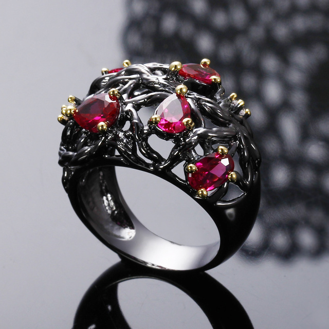 Fuchsia Pink Red Teardrop Crystal jewelry Water drop stone rings Black and gold plating Lady Unique Design Cocktail fashion ring