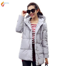 Winter Women New Jacket 2017 Autumn Large size Women Medium Long Loose Thicke Cotton clothing Jacket Fashion Hooded Jacket G216