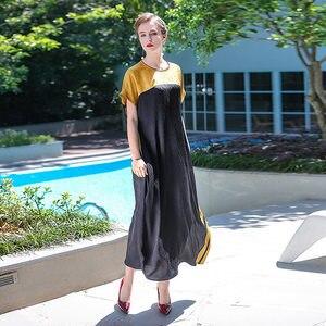 Image 5 - VOA Plus Size 5XL Loose Long Maxi Dress Silk Robe Dresses Casual Chinese Style Vintage Elegant Muslim Abaya Arabic Pull ALJ01001