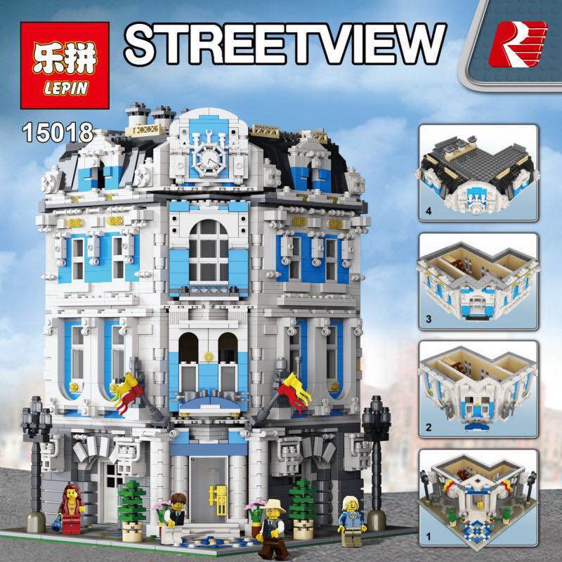 AA 3196pcs Lepin 15018 City Series MOC The Sunshine Hotel Set Building Blocks Bricks Toys Educactional funny toys birthday Gifts lepin 15018 3196pcs creator city series sunshine hotel model building kits brick toy compatible christmas gifts