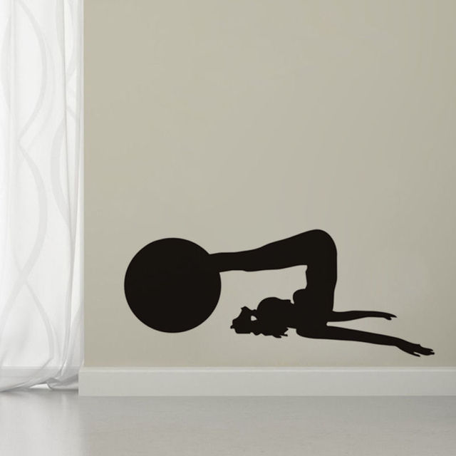 Lady Lecture Yoga Avec Balle Vinyle Wall Sticker Salle de Remise En ...