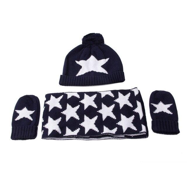 3Pcs Kids Boys Navy Blue Star Print Children Winter knitted Hat Scarf Glove  Set e1e2e343f24