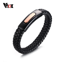 Vnox Real Genuine Leather Braided Bracelet For Women Men Charms Circular Bracelets Bangles Jewelry