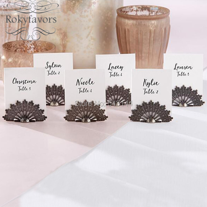Free Shipping 50pcs Antiqued Fan Place Card Holder Wedding Favors