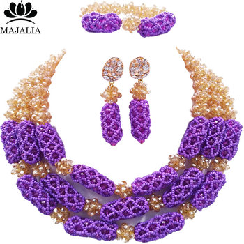 Majalia Luxury Nigeria Wedding African Beads Jewelry Set Gold ab and Purple Crystal Necklace Bridal Jewelry Sets 1TY005