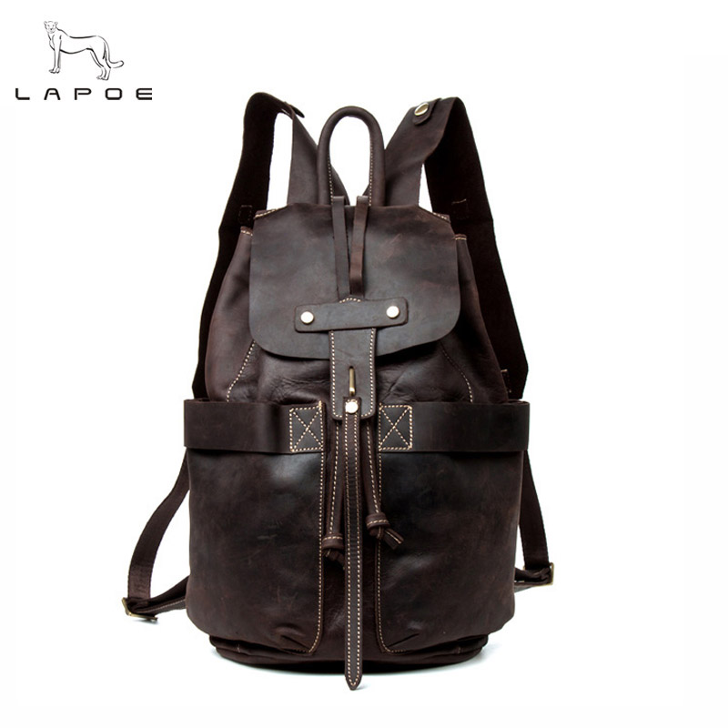 LAPOE vintage genuine leather backpack women &man bag mochilas escolares para adolescentes crazy horse leather backpacks teenage чехол it baggage для планшета huawei media pad x1 7 искуственная кожа черный ithwx1 1