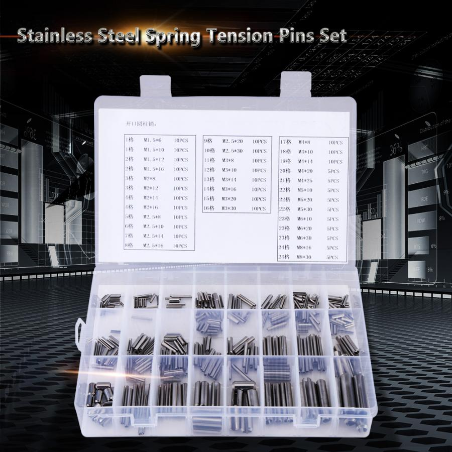 280Pcs Stainless Steel Spring Pin Tension Elastic Cylindrical Cotter Pins Set M1.5 M2 M2.5 M3 M4 M5 M6 M8 Dowel Tension Roll Pin