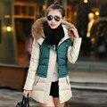 2017 Mulher Moda Inverno Quente Roupas de Algodão Acolchoado Longo Fino Feminino Casaco Outerwear 3 Cores Casual Engrosse Com Capuz De Pele Parka