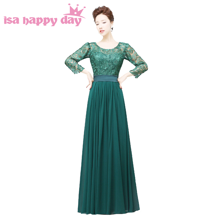 2018 new fashion sexy women formal elegant green lace long evening party dresses with sleeves dress gowns for women H2909