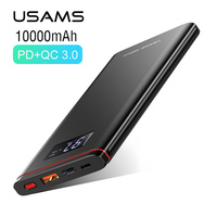 Ultra thin Power Bank,USAMS 10000mah 18W QC 3.0+PD fast Charge Power Bank LCD display PowerBank Type C & Micro Port USB Charger