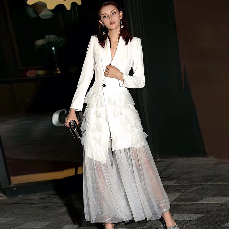 New 2019 Fashion Runway Dress Black White Women Banquet Party Cascading Ruffle Notched Neck Long Sleeve