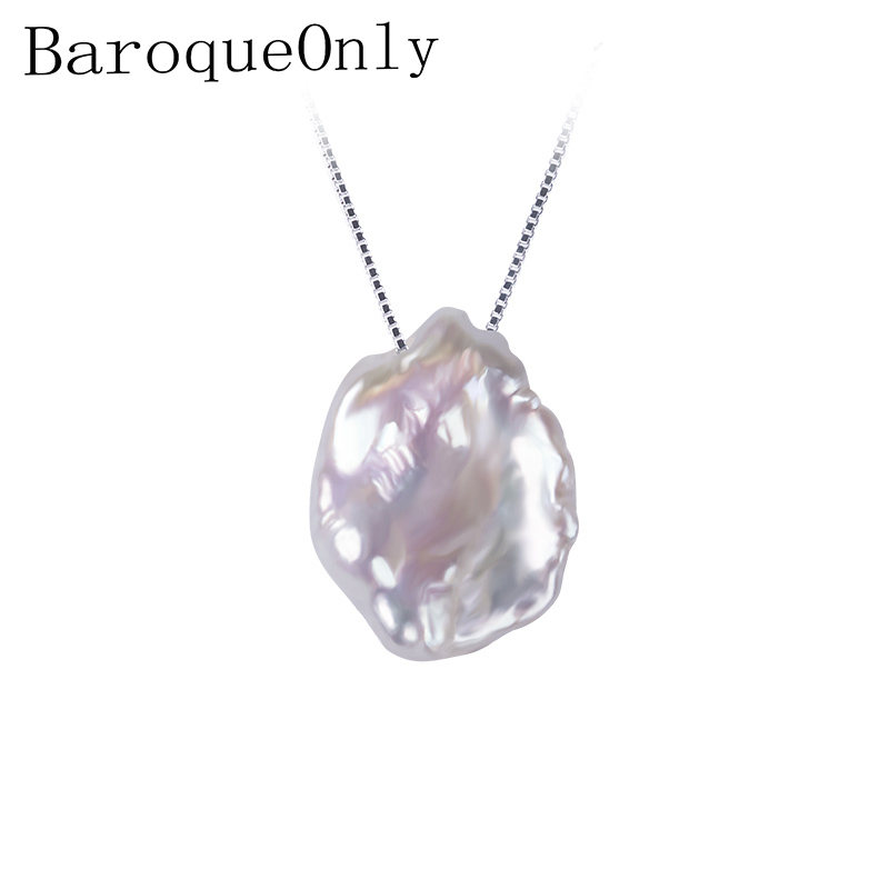 BaroqueOnly Natural Freshwater Baroque Pearl Necklace,15-23mm, 925 Sterling Silver Pearl Jewelry For Women Gifts baroqueonly s925 sterling silver 100% natural white baroque big 15 25mm pearl bracelet fashion jewelry for women hl