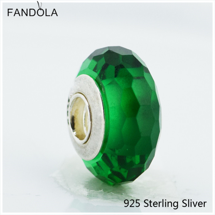 Thread Teal Faceted Murano Glass Beads Fits Pandora Bracelets Original Real 925 Sterling Silver Green Chamrs CKK