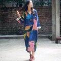 Vestido 2017 otoño primavera dress plus size loose winter dress impresión tendencia nacional de la vendimia con cuello en v manga larga de algodón mujeres dress