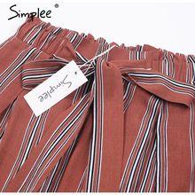 Simplee High waist loose striped summer pants plus size Sexy side split women pants Elastic cotton white wide leg trousers 2018