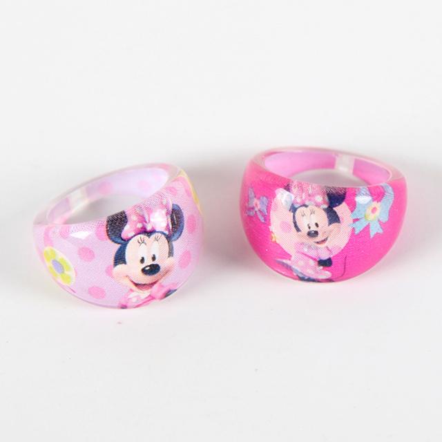 6 unids/lote de anillos de dedos acrílicos de cristal de ratón MIinnie para fiesta de cumpleaños