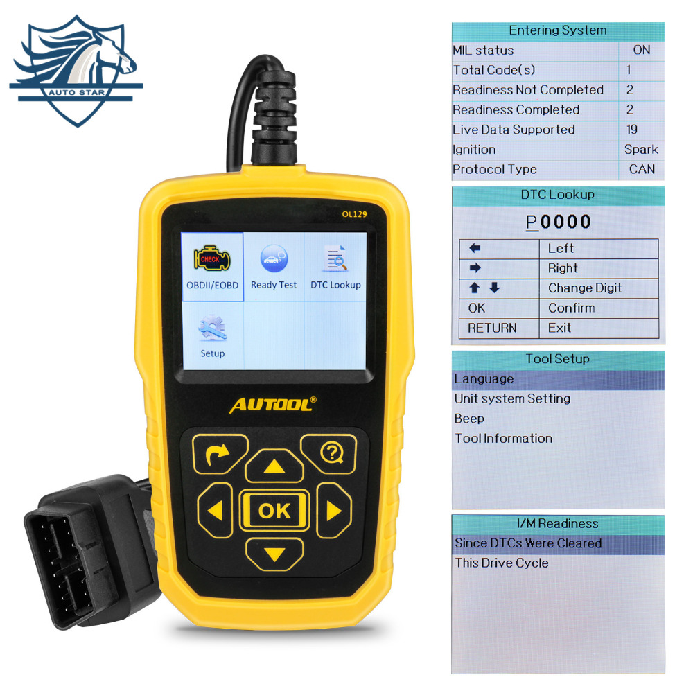 AUTOOL OL129 OBD2/EOBD CAN Universal Automotive Scanner Engine Error Diagnostic Tool With Battery Power Superior Than AUTEL 519