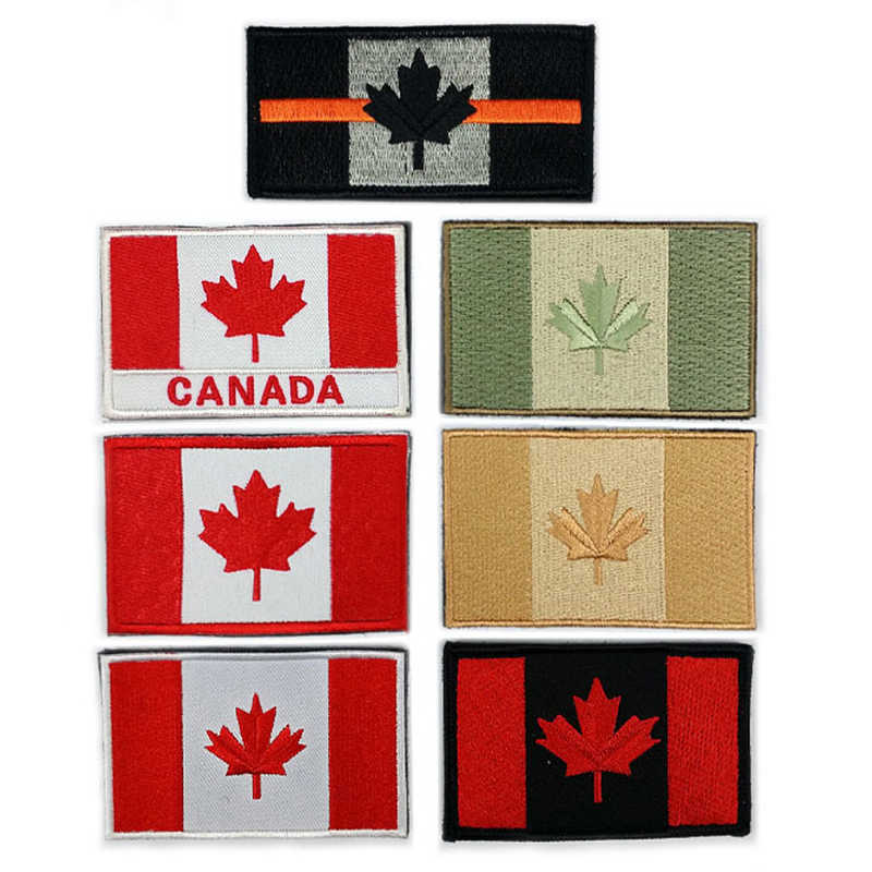 54844acd2290 Embroidered Canada Flag Patch Army Hook&Loop Patch 3D Tactical Military  Patches Fabric National Emblem Canadian Maple Leaf Flag