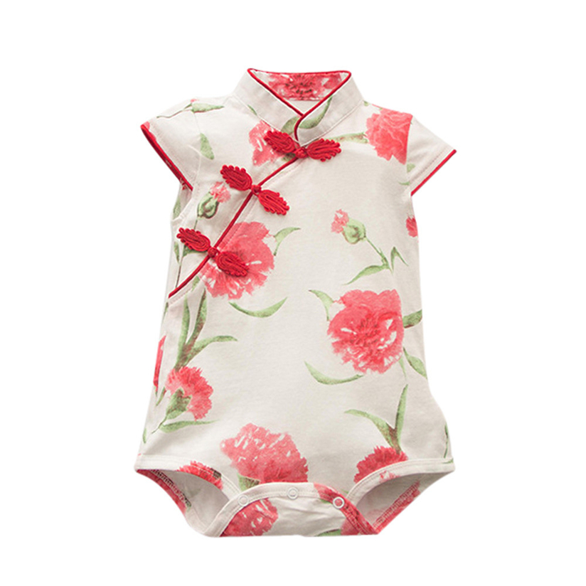 Toddler Baby Girls Rose Flower Print Sleeveless Cheongsa Chinese Style Romper ragazza mise insieme Vrouwen pakken. #2