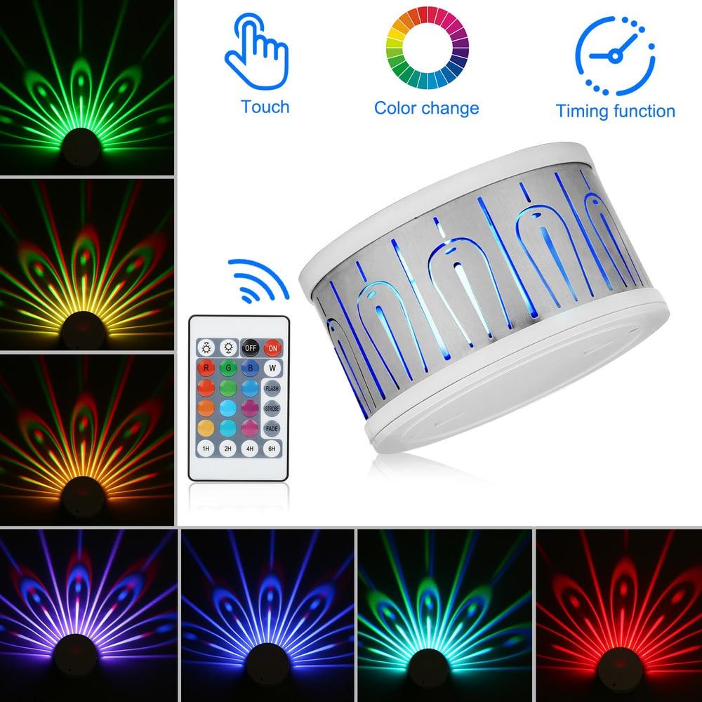 Nouveau coloré variable paon lampe de Projection tactile télécommande LED veilleuse bébé chambre décoration chevet applique murale