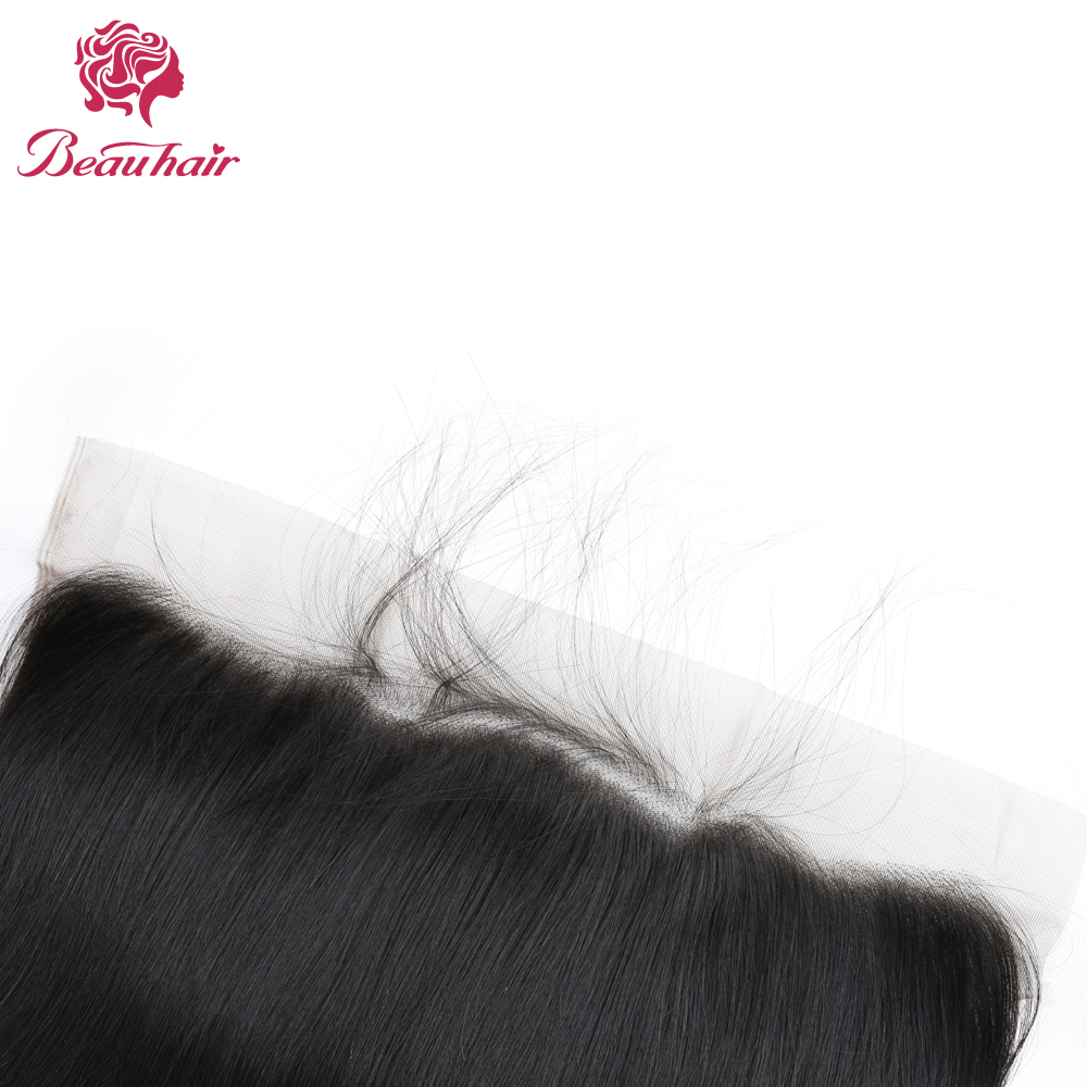 Beau Hair Lace Front Closure with 2 Bundles Brazilian Straight Human Hair Non Remy 13x4 Closure with Bady Hair Natural Color
