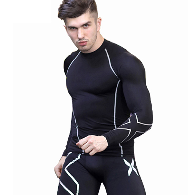 Mens Fitness Cycling Base Layers Long Sleeves Compression Tights Bicycle Running Bike Clothes Jersey Sports Underwear Clothing